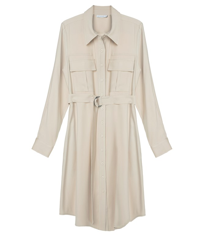Beige Belted Shirtdress The Line Project DRESSES