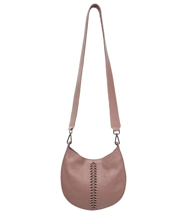 Dusty Rose Leather Mini Boho Shoulder Bag