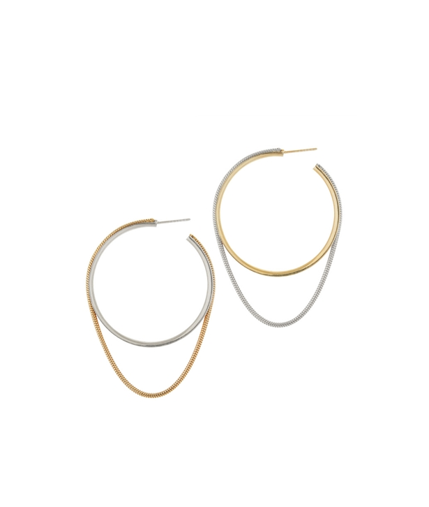 Silver and Gold-plated Silver Twinkler Hoops Large