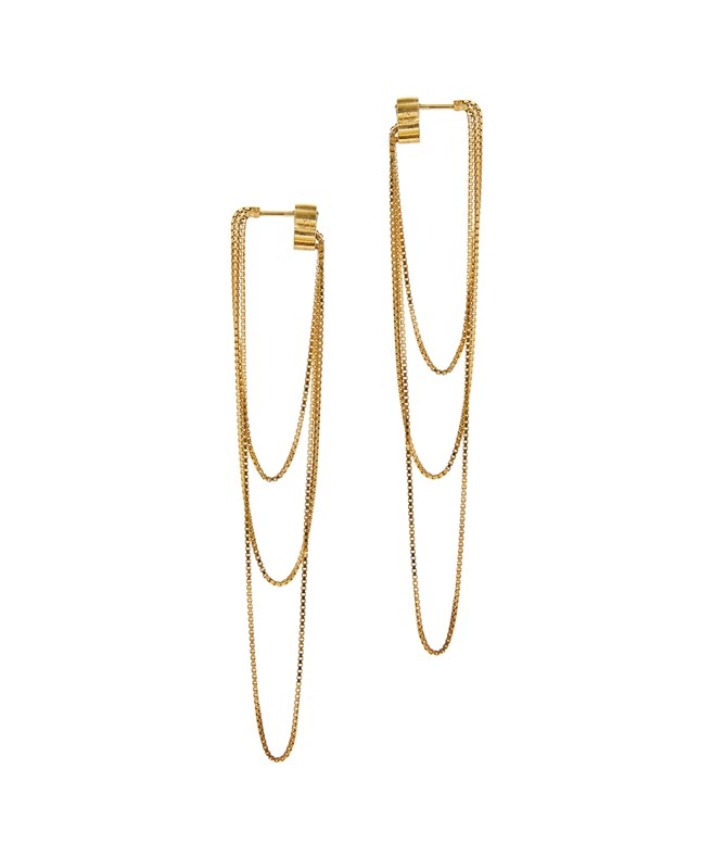 Gold-plated Silver Nighttime Box Chain Earrings  Maggoosh EARRINGS