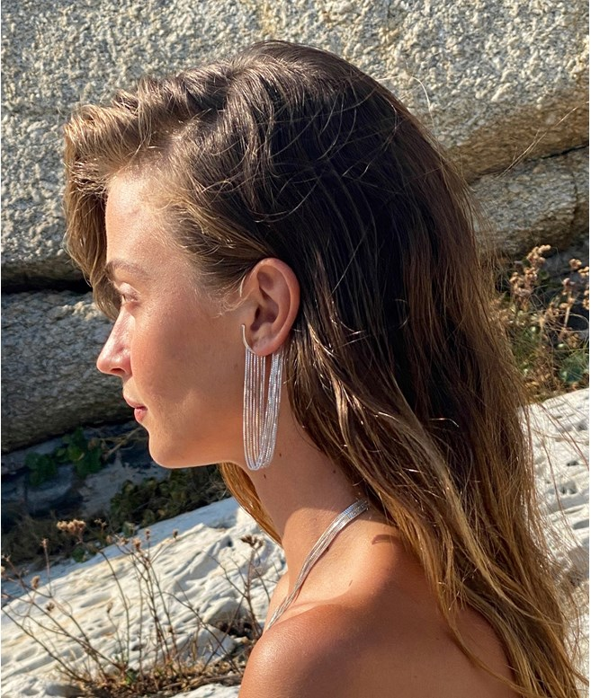 Silver Currents Ear Cuff Short  Maggoosh EARRINGS