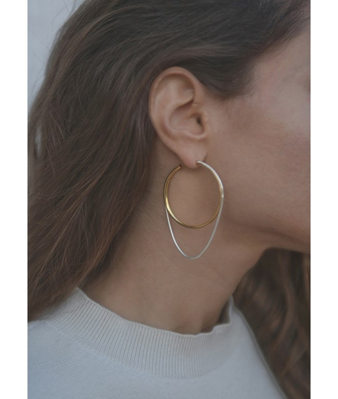 Silver and Gold-plated Silver Twinkler Hoops Large  Maggoosh EARRINGS