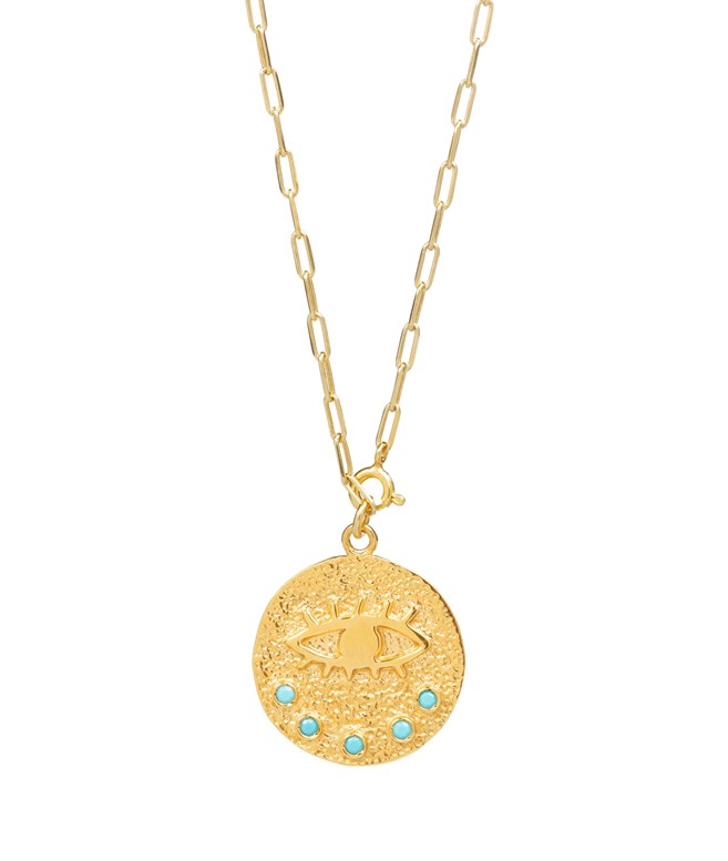 Kressida Versatile Medallion Gold-plated Silver Turquoise Necklace Hermina Athens NECKLACES