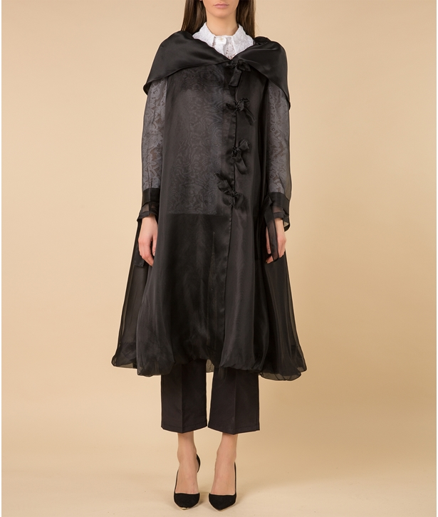 Black Organza Layer Overcoat
