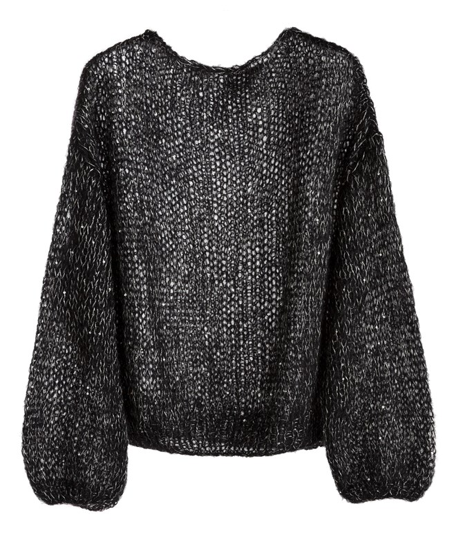 Black Silver Mohair Silk Sequined Sweater Mariquita Elegant Yarns ΤΟΠ