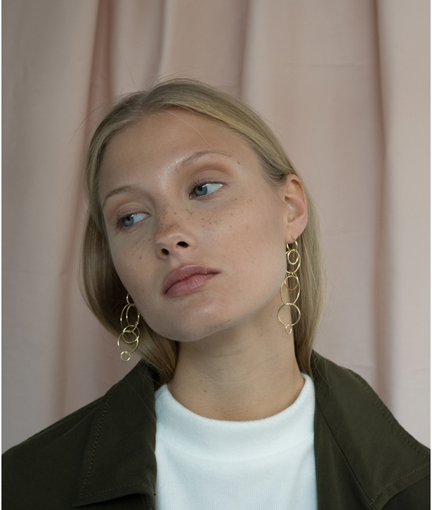 Layered Hoop Gold-plated Silver Earrings