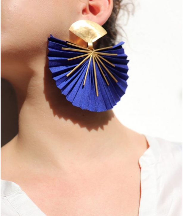 Blue Sparkle Fan Silk Earrings