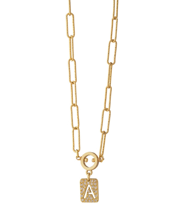 Chain Pave Monogram Necklace