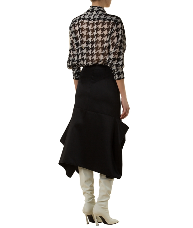 Black Silk Blend Asymmetric Skirt