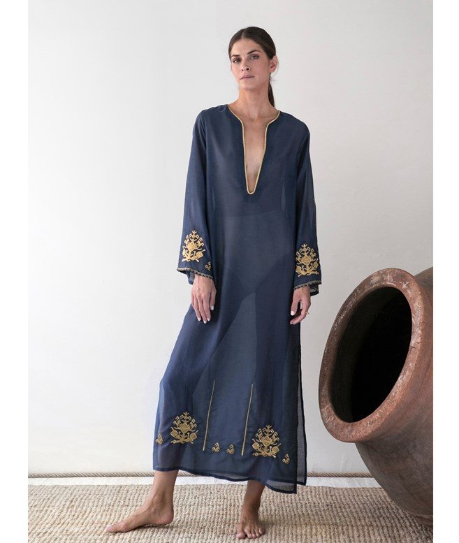Midnight Blue Cotton Silk Trikeri Embroidered Long Kaftan Ancient Kallos ΝΕΑ ΠΡΟΙΟΝΤΑ