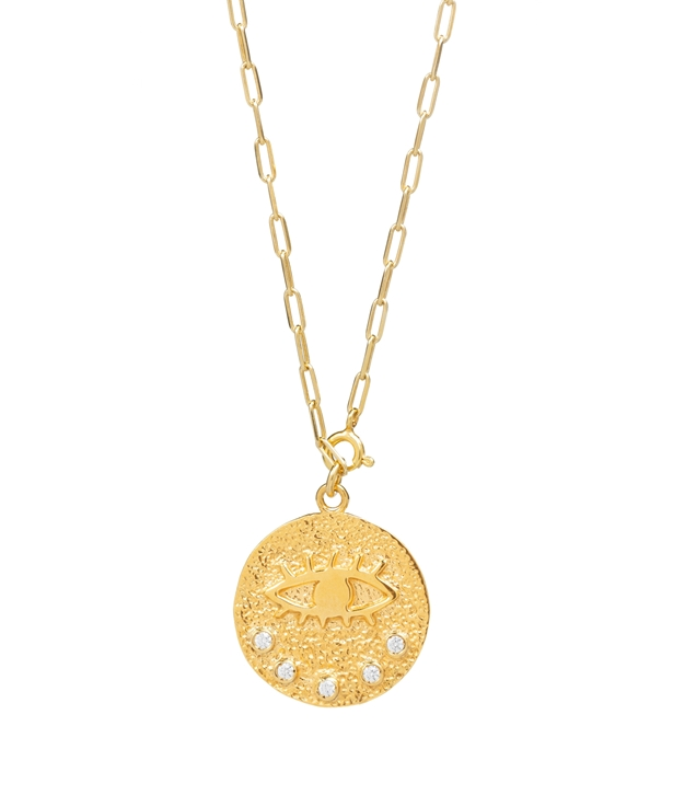 Kressida Versatile Medallion Gold-plated Silver Clear Necklace