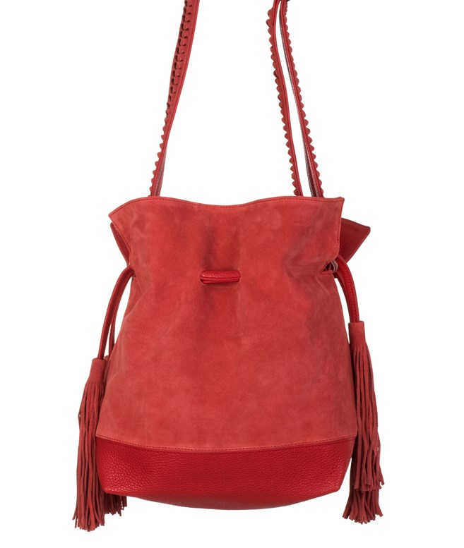 Red Suede Leather Bucket Bag Park House SHOULDER BAGS