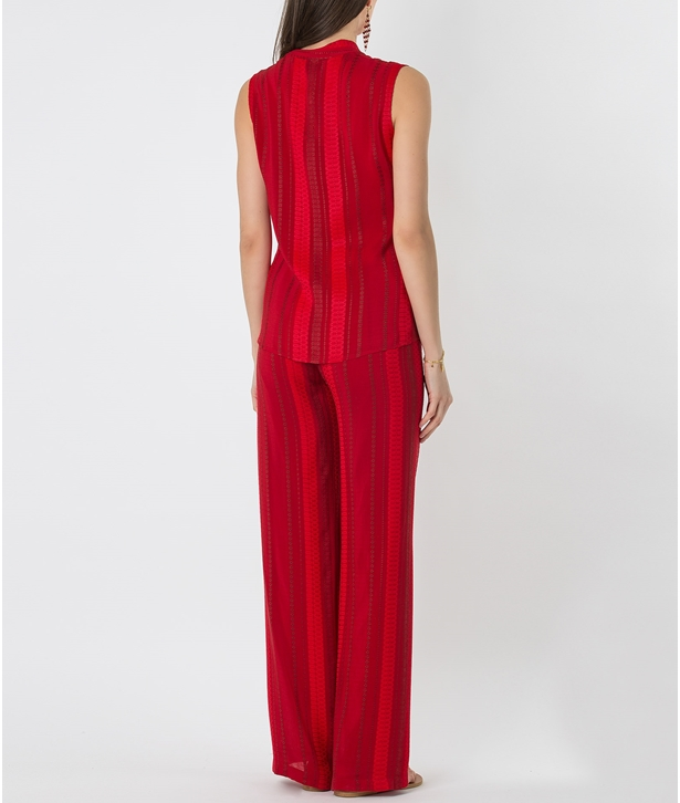 Red Silk Hera Sleeveless Top