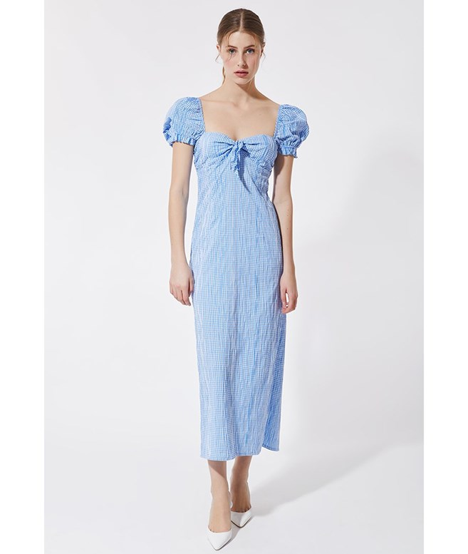 Light Blue Vichy Midi Dress Stefania Vaidani DRESSES