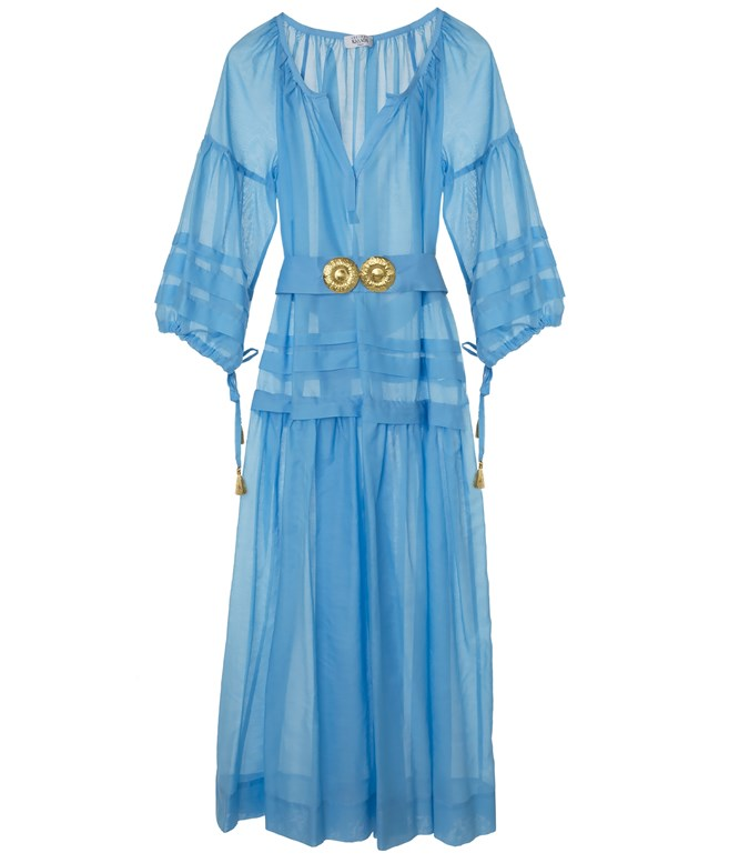 Light Blue Cotton Silk Mykonos Long Dress Ancient Kallos ΝΕΑ ΠΡΟΙΟΝΤΑ