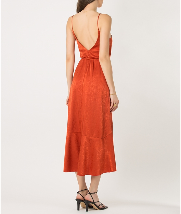 Terracotta Wrap Frill Dress