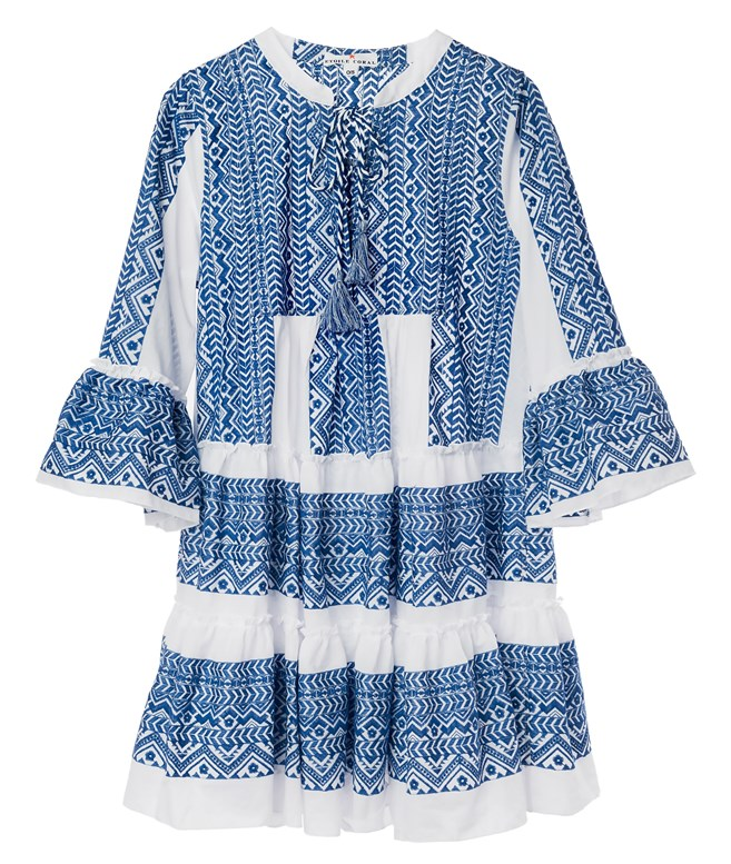 White Blue Cotton Chloe Embroidered Dress Etoile Coral ΝΕΑ ΠΡΟΙΟΝΤΑ