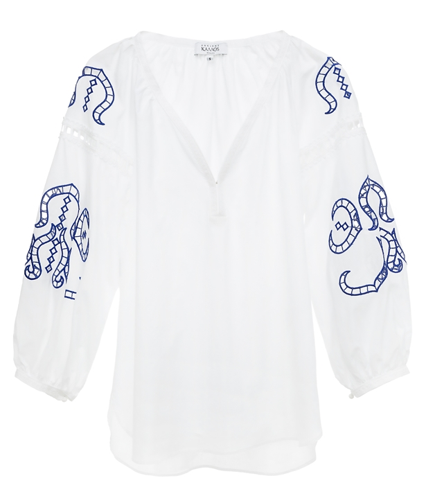White Blue Cotton Iphigenia Cut Embroidered Blouse