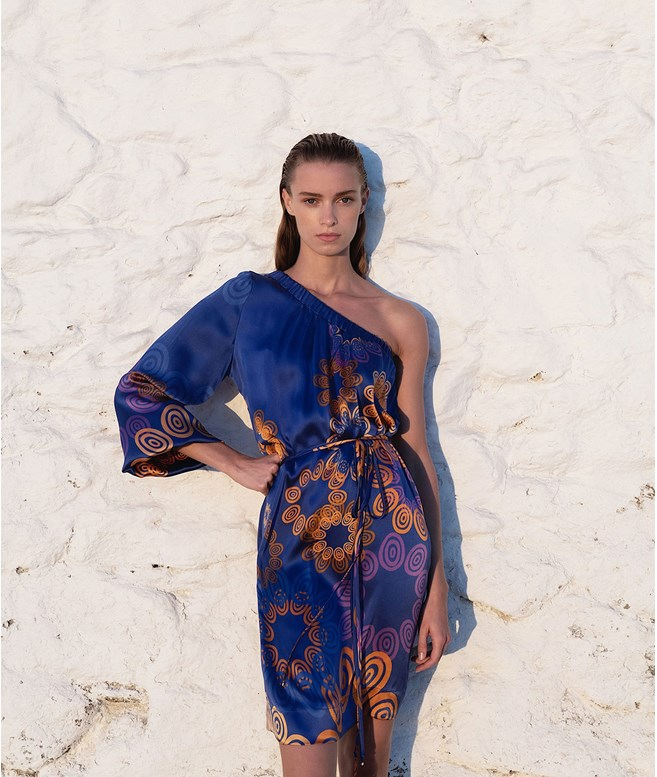 Midnight Blue Silk Kyklos Sunset One Shoulder Dress Themis Z ΝΕΑ ΠΡΟΙΟΝΤΑ